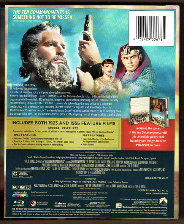 Ten Commandments Blu Ray Package Details