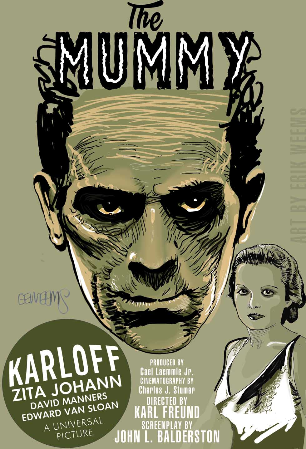 The Mummy 1932 Poster art by Erik Weems